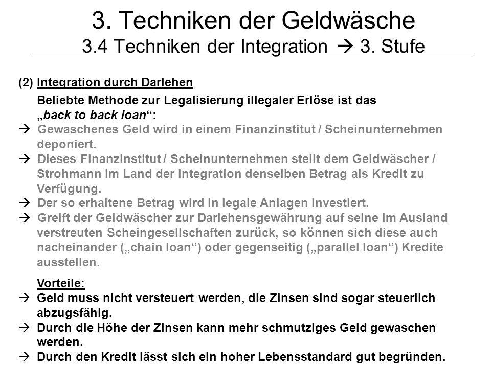3. Techniken der Geldwäsche 3.4 Techniken der Integration  3. Stufe