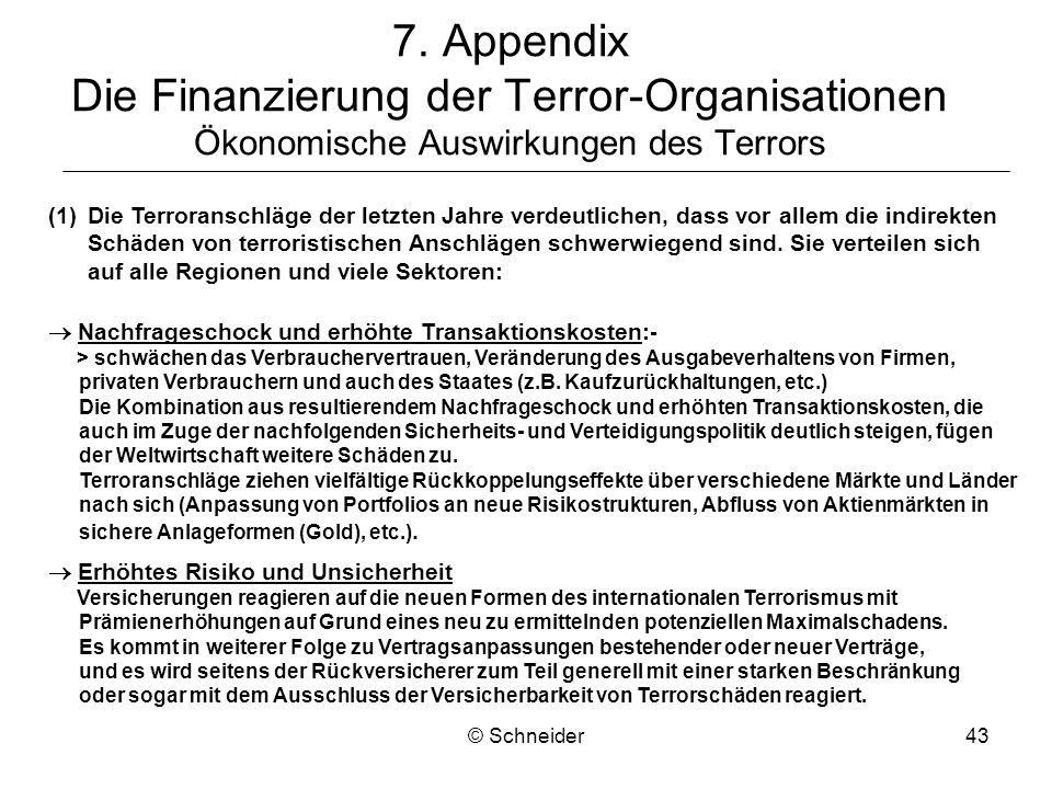 7. Appendix Die Finanzierung der Terror-Organisationen Ökonomische Auswirkungen des Terrors