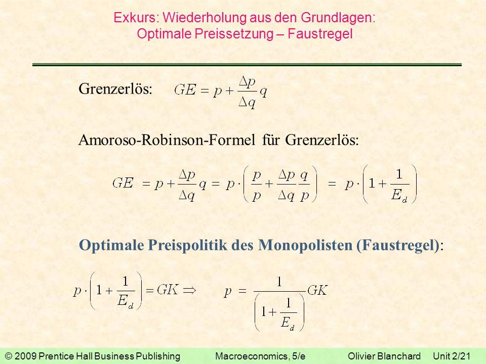 Amoroso-Robinson-Formel für Grenzerlös: