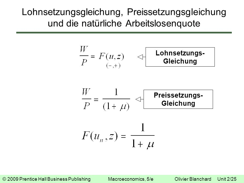 Lohnsetzungs- Gleichung Preissetzungs- Gleichung