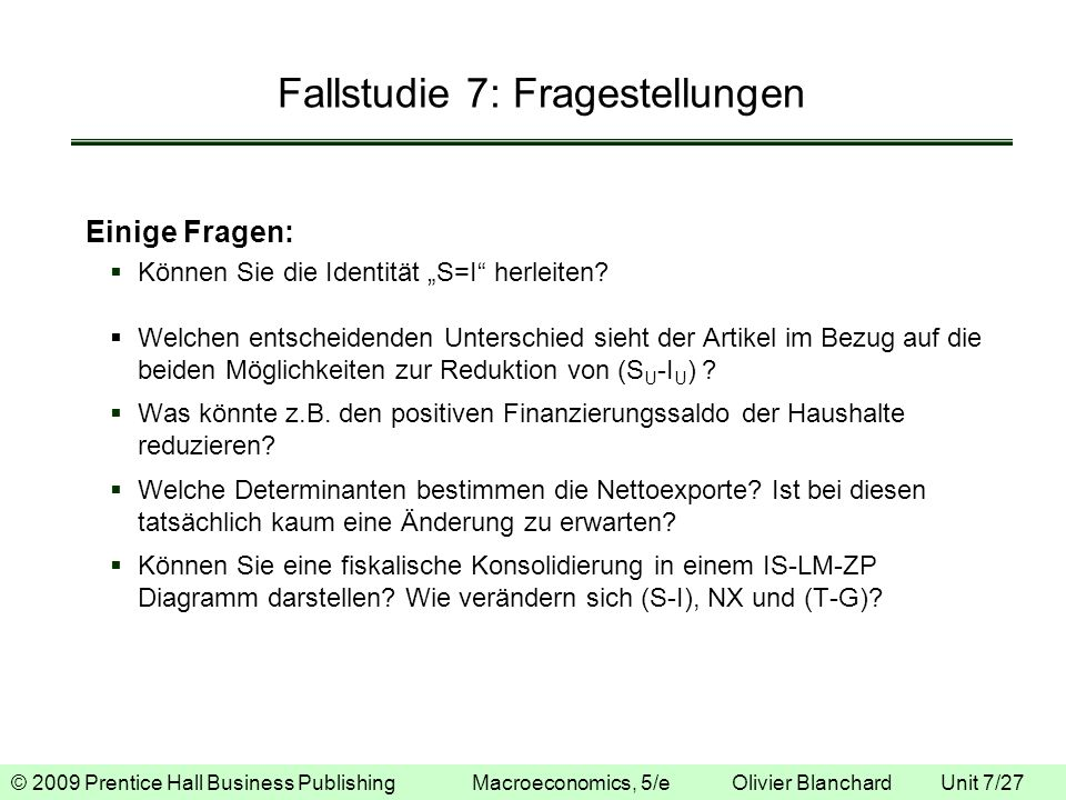 Fallstudie 7: Fragestellungen