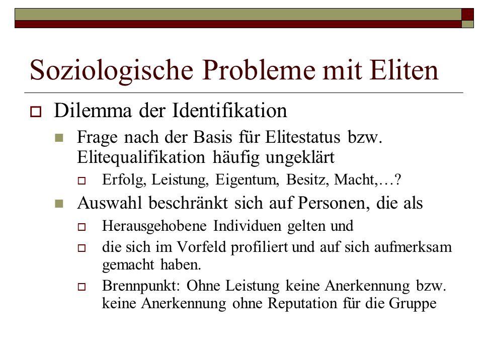 Soziologische Probleme mit Eliten