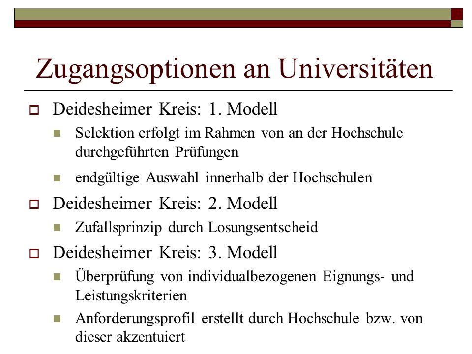 Zugangsoptionen an Universitäten