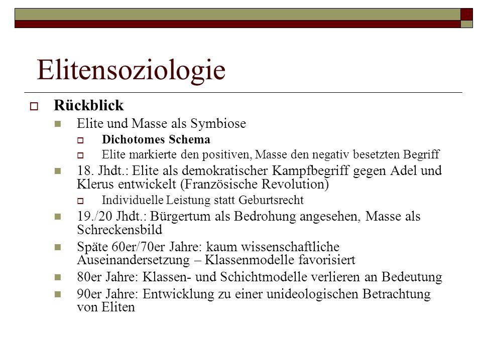 Elitensoziologie Rückblick Elite und Masse als Symbiose