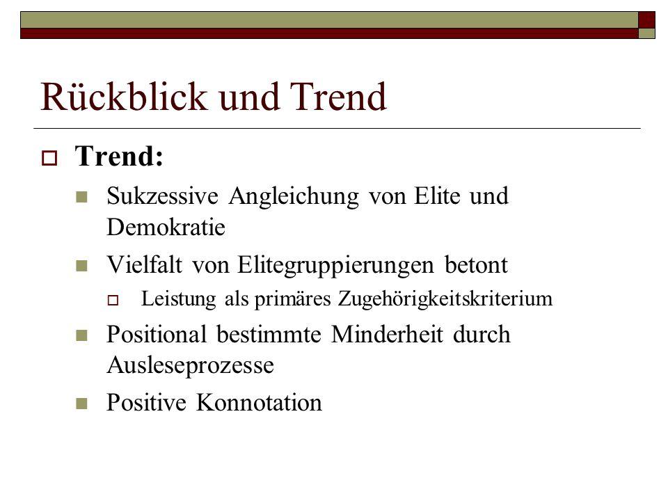 Rückblick und Trend Trend: