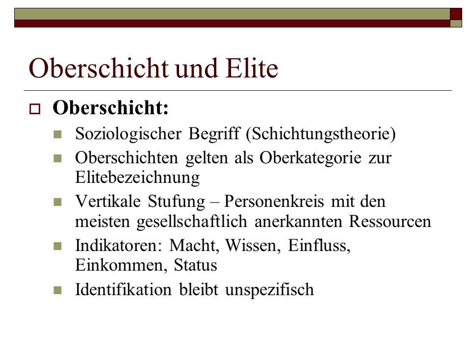 Oberschicht und Elite Oberschicht: