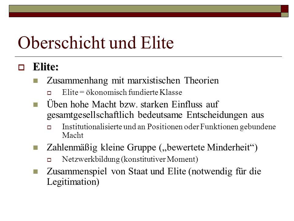 Oberschicht und Elite Elite: Zusammenhang mit marxistischen Theorien