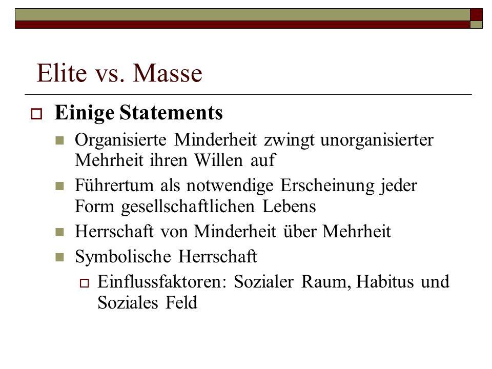 Elite vs. Masse Einige Statements