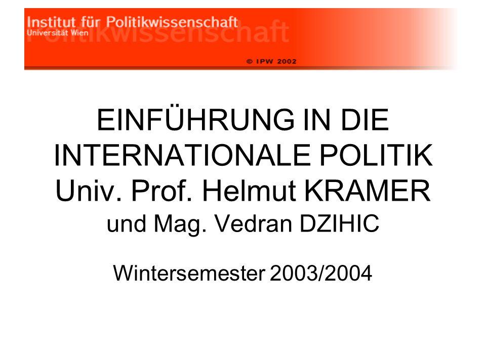 EINFÜHRUNG IN DIE INTERNATIONALE POLITIK Univ. Prof