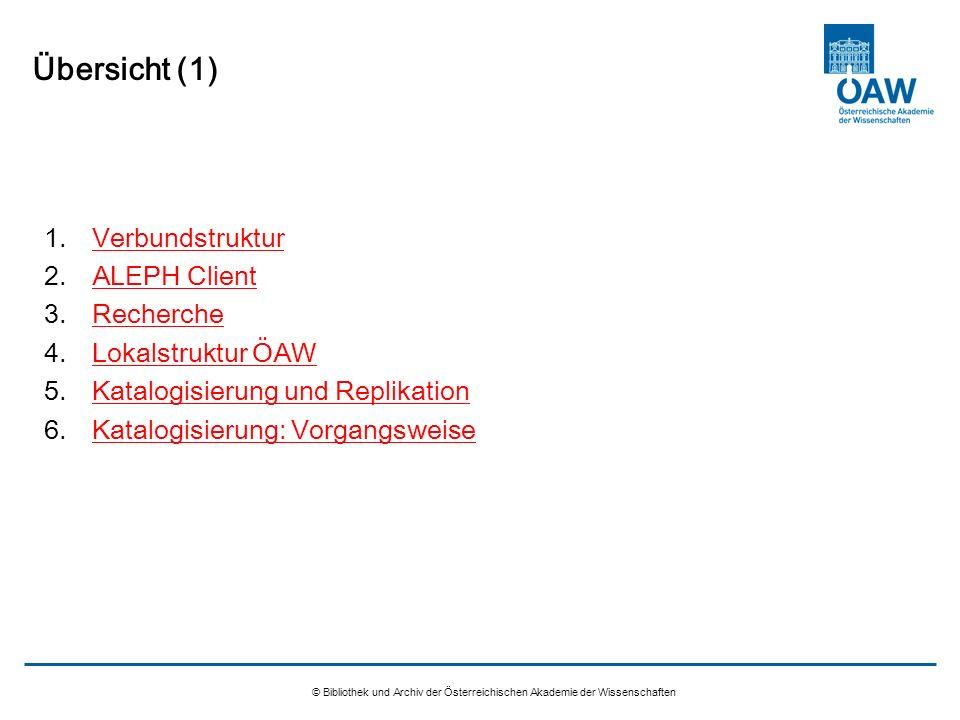 Übersicht (1) Verbundstruktur ALEPH Client Recherche Lokalstruktur ÖAW