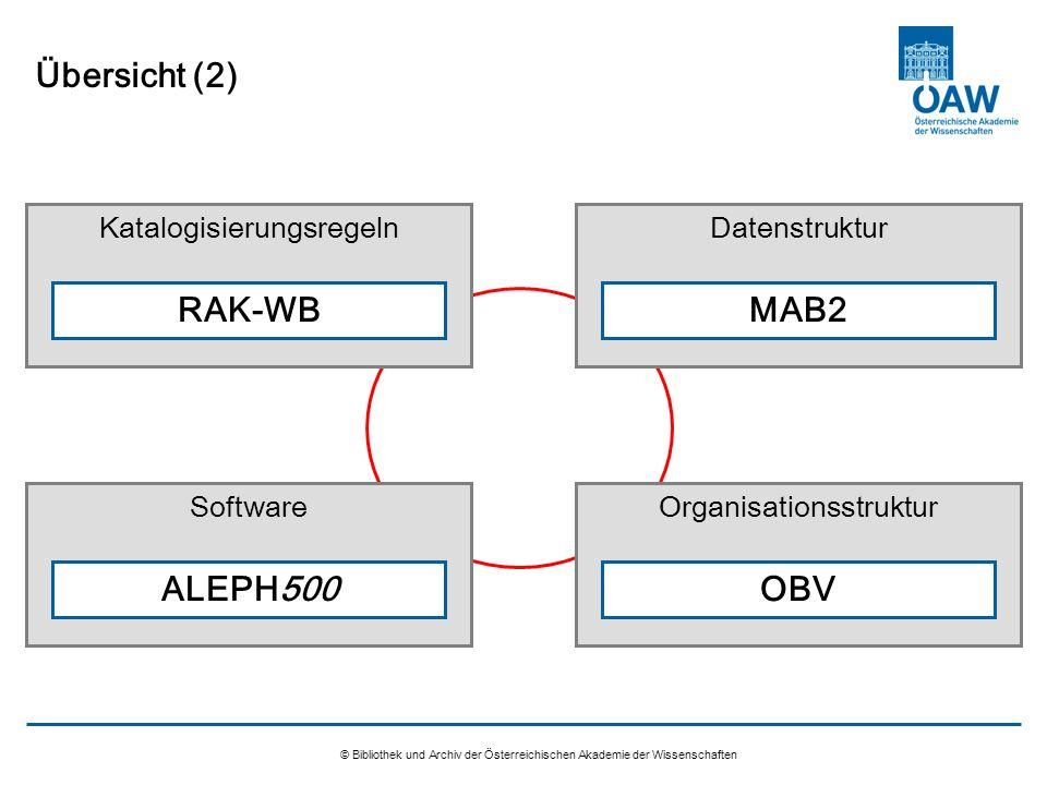 Übersicht (2) RAK-WB MAB2 ALEPH500 OBV Katalogisierungsregeln