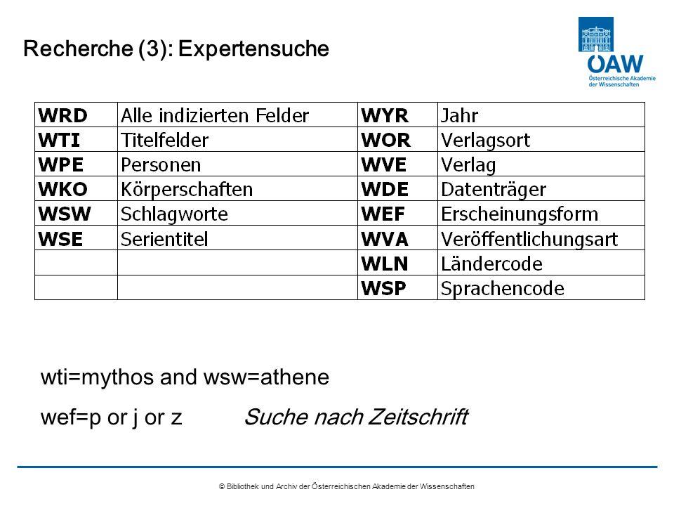 Recherche (3): Expertensuche