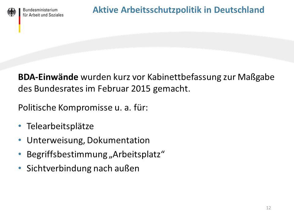 Aktive Arbeitsschutzpolitik in Deutschland