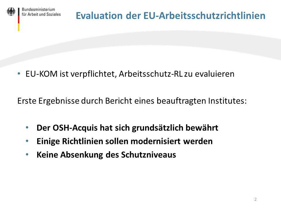 Evaluation der EU-Arbeitsschutzrichtlinien