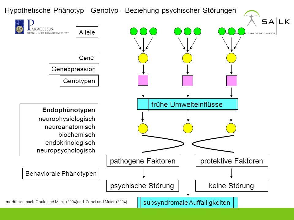 Hypothetische Phänotyp - Genotyp - Beziehung psychischer Störungen