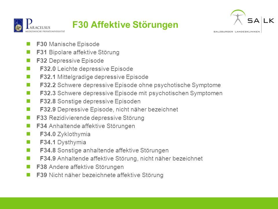F30 Affektive Störungen F30 Manische Episode
