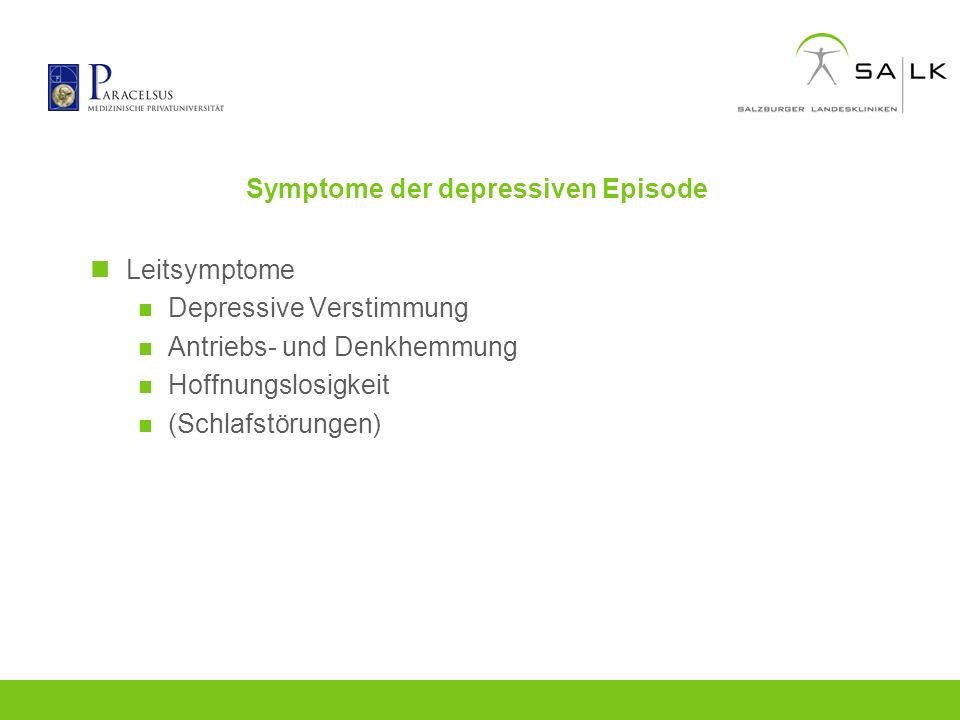 Symptome der depressiven Episode