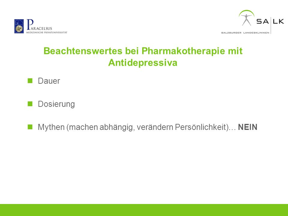 Beachtenswertes bei Pharmakotherapie mit Antidepressiva