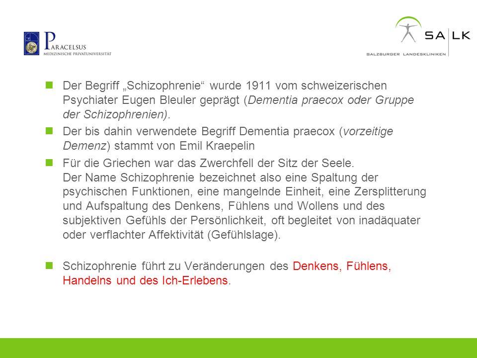 """Der Begriff """"Schizophrenie wurde 1911 vom schweizerischen Psychiater Eugen Bleuler geprägt (Dementia praecox oder Gruppe der Schizophrenien)."""