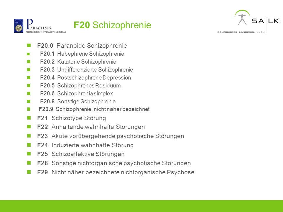 F20 Schizophrenie F20.0 Paranoide Schizophrenie F21 Schizotype Störung