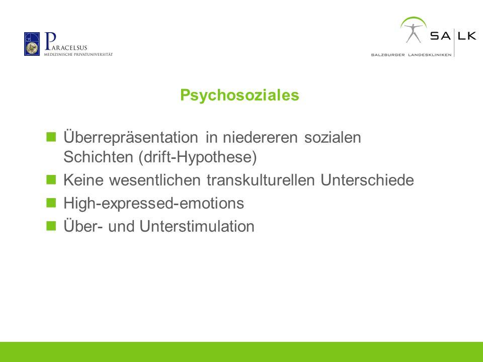 Psychosoziales Überrepräsentation in niedereren sozialen Schichten (drift-Hypothese) Keine wesentlichen transkulturellen Unterschiede.