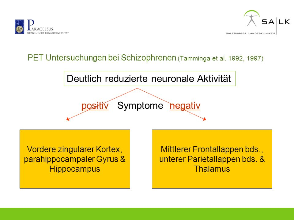 PET Untersuchungen bei Schizophrenen (Tamminga et al. 1992, 1997)