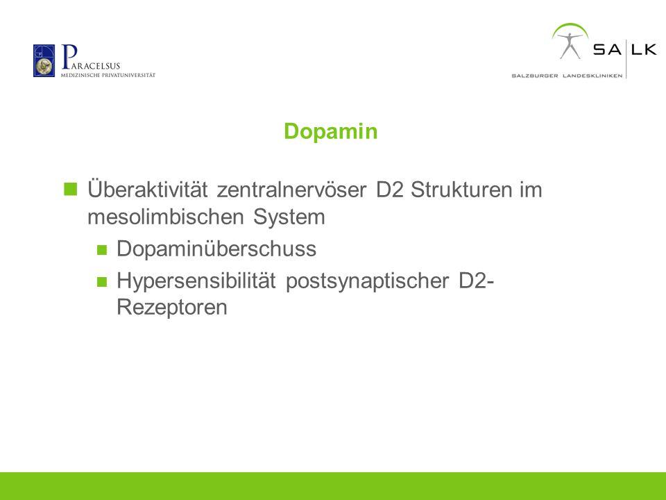 Dopamin Überaktivität zentralnervöser D2 Strukturen im mesolimbischen System.