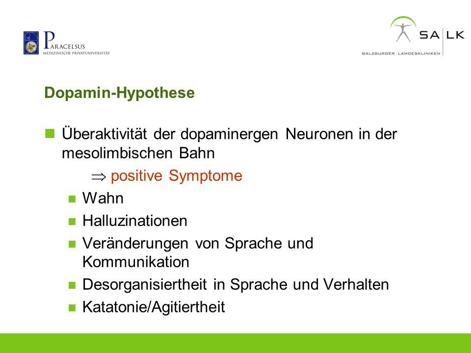 Dopamin-Hypothese Überaktivität der dopaminergen Neuronen in der mesolimbischen Bahn.  positive Symptome.