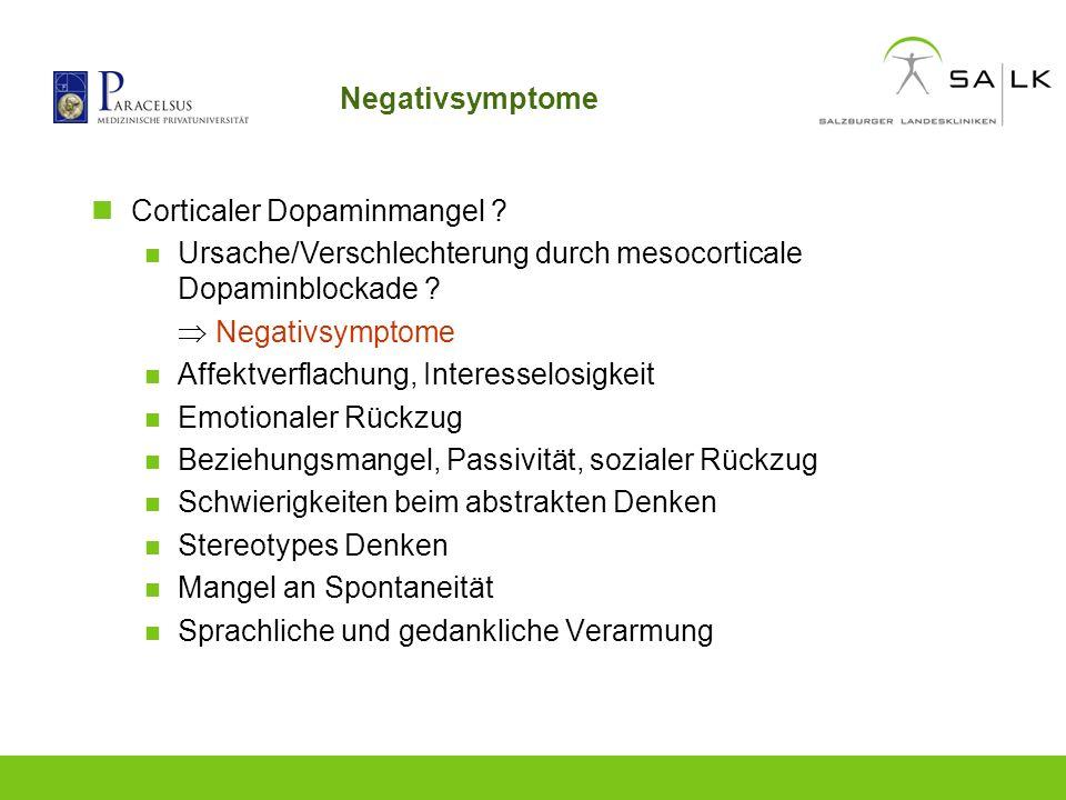 Negativsymptome Corticaler Dopaminmangel Ursache/Verschlechterung durch mesocorticale Dopaminblockade