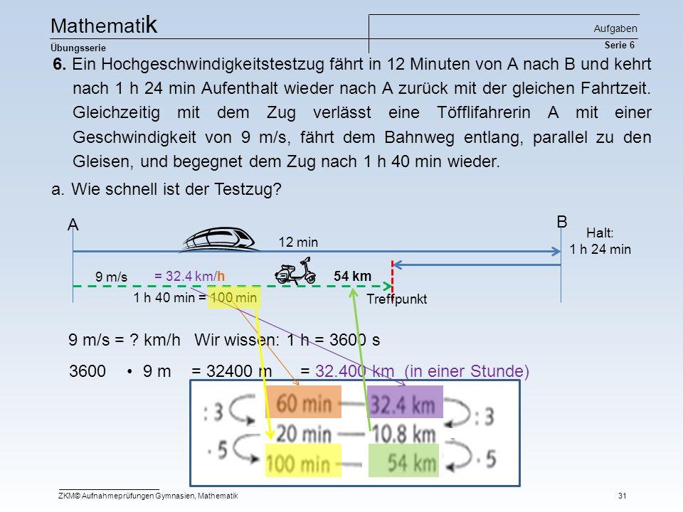 Mathematik Aufgaben Serie 6. Übungsserie.