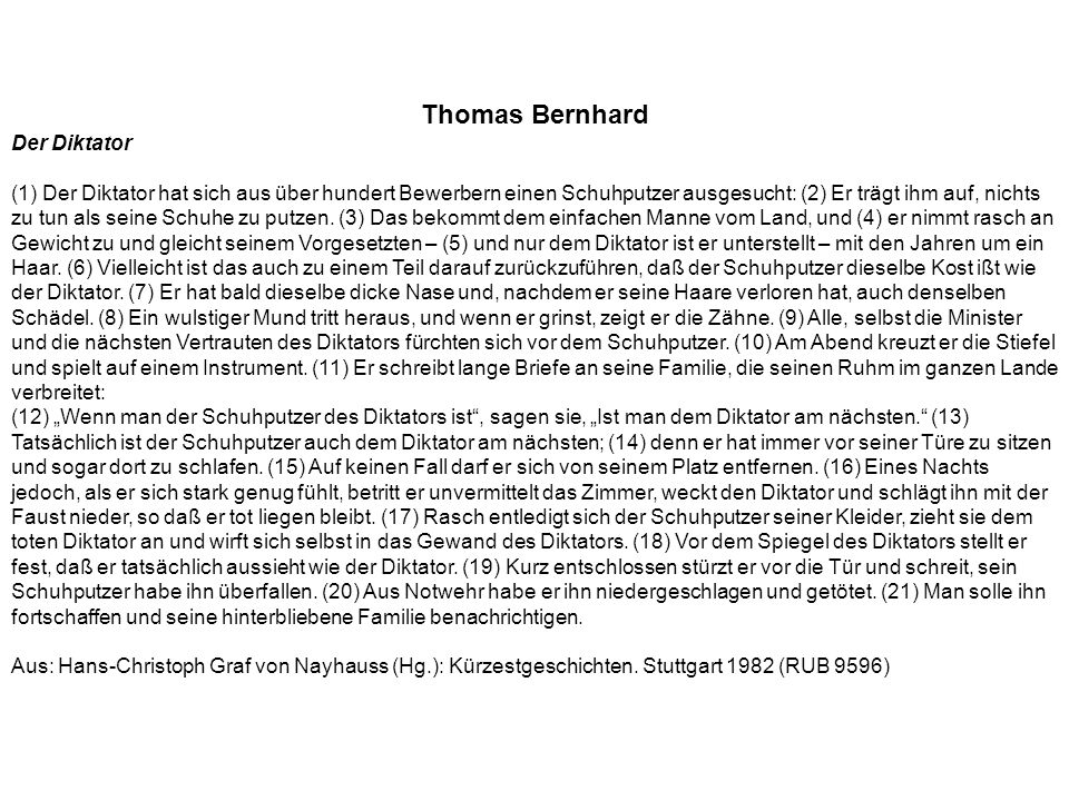 Thomas Bernhard Der Diktator