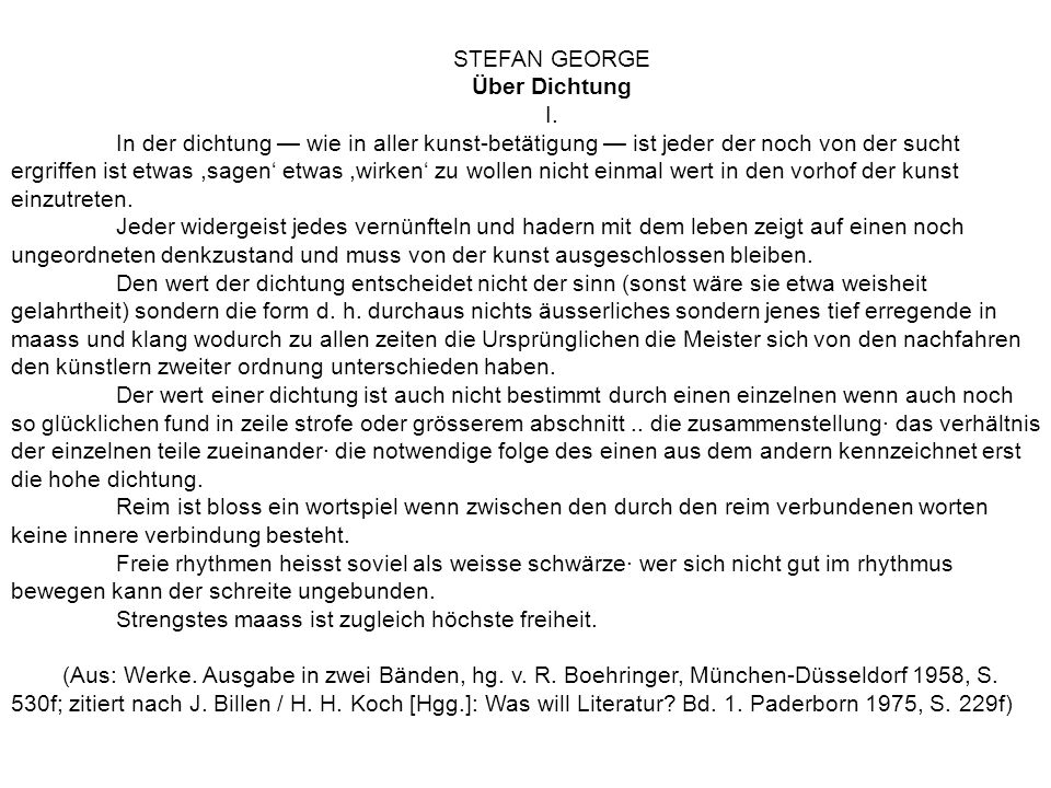 STEFAN GEORGE Über Dichtung. I.