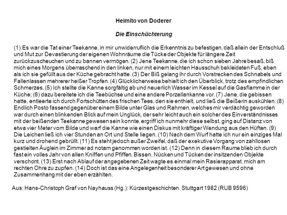 Heimito von Doderer Die Einschüchterung.