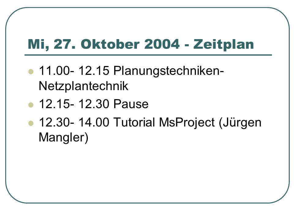 Mi, 27. Oktober 2004 - Zeitplan 11.00- 12.15 Planungstechniken- Netzplantechnik. 12.15- 12.30 Pause.