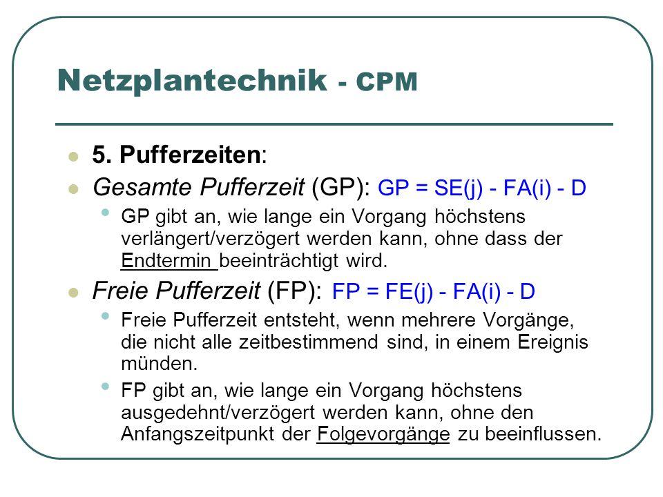 Netzplantechnik - CPM 5. Pufferzeiten: