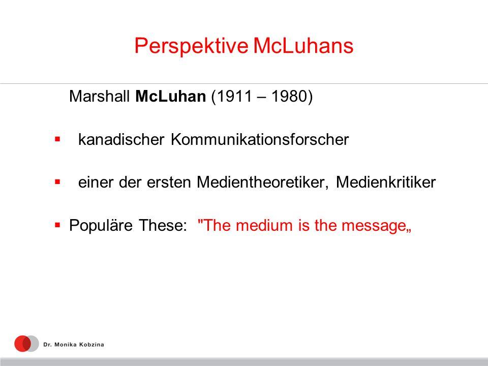 Perspektive McLuhans Marshall McLuhan (1911 – 1980)