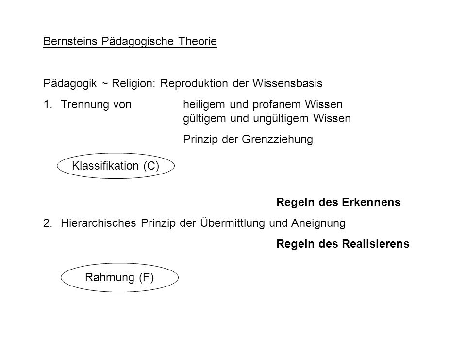 Bernsteins Pädagogische Theorie