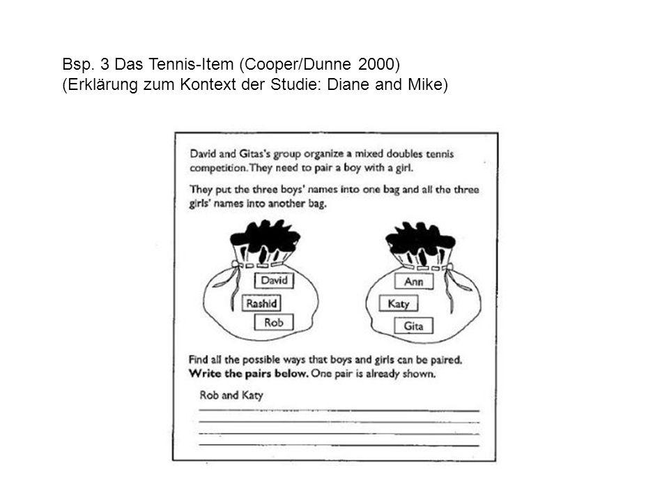 Bsp. 3 Das Tennis-Item (Cooper/Dunne 2000) (Erklärung zum Kontext der Studie: Diane and Mike)