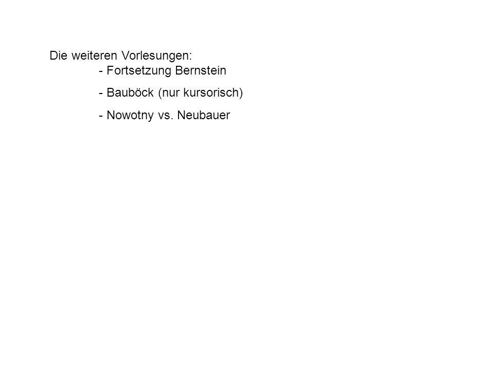 Die weiteren Vorlesungen: - Fortsetzung Bernstein