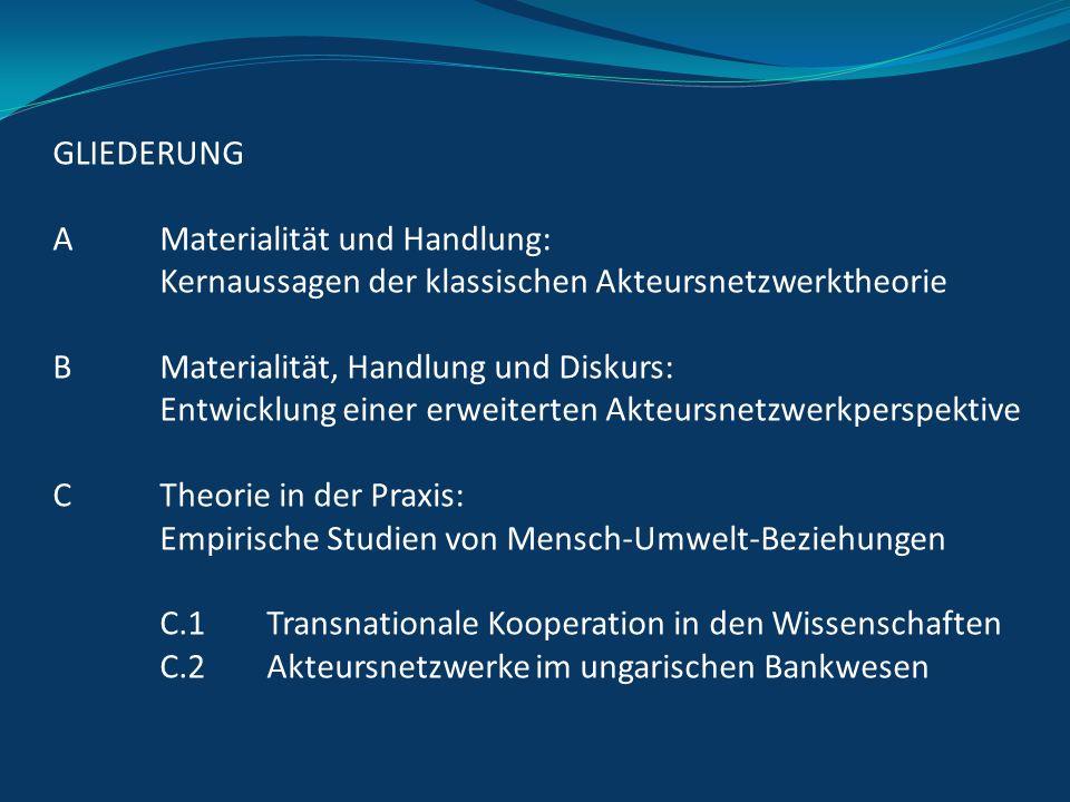 GLIEDERUNG A Materialität und Handlung: Kernaussagen der klassischen Akteursnetzwerktheorie. B Materialität, Handlung und Diskurs: