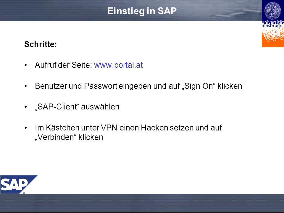 Einstieg in SAP Schritte: Aufruf der Seite: www.portal.at