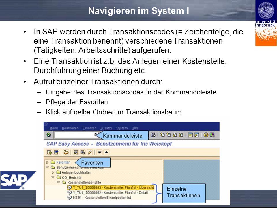 Navigieren im System I