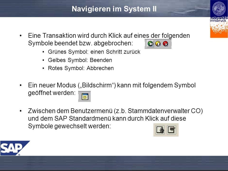 Navigieren im System II