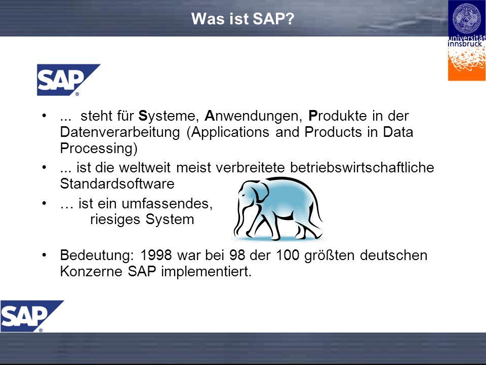 Was ist SAP ... steht für Systeme, Anwendungen, Produkte in der Datenverarbeitung (Applications and Products in Data Processing)