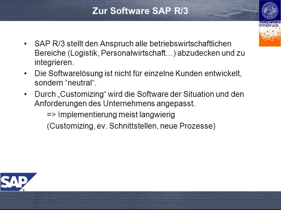 Zur Software SAP R/3