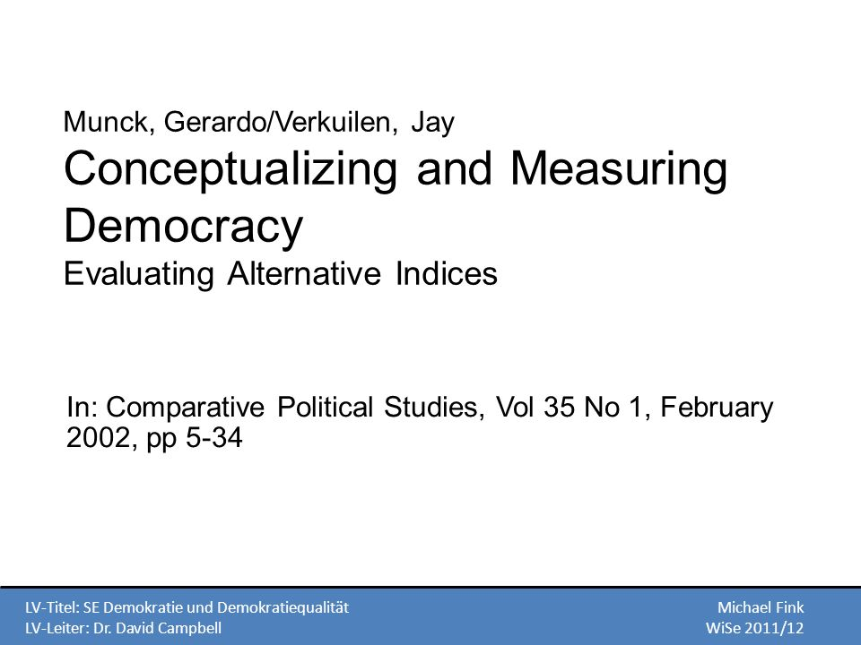 In: Comparative Political Studies, Vol 35 No 1, February 2002, pp 5-34