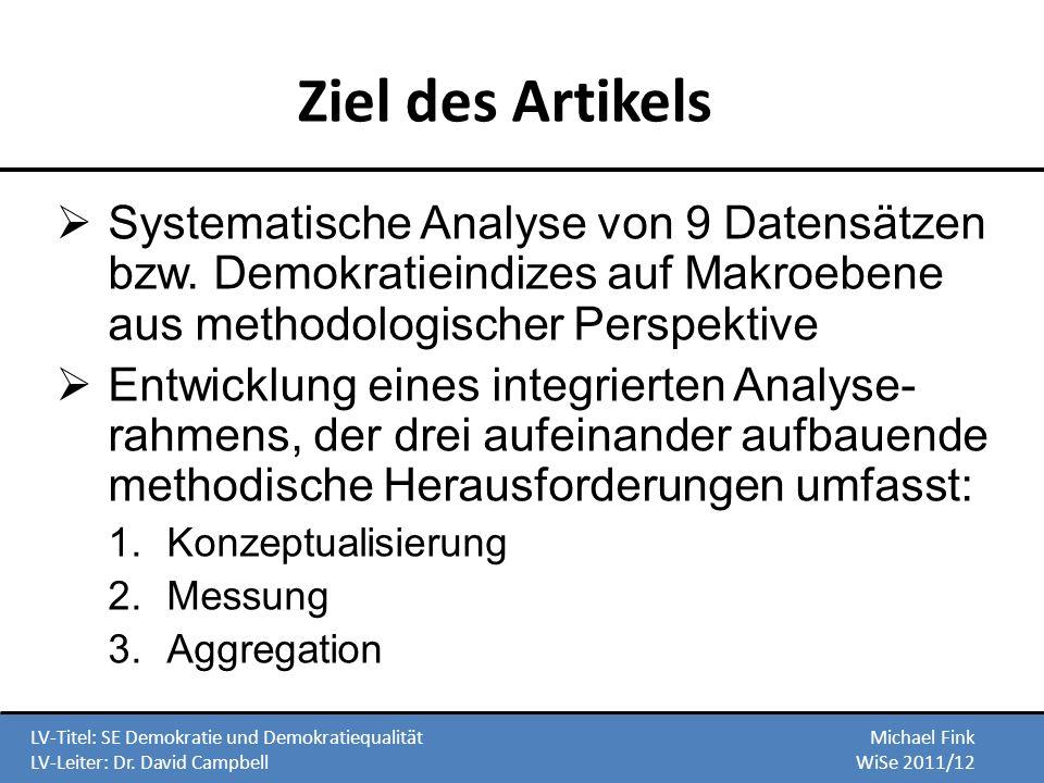 Ziel des Artikels Systematische Analyse von 9 Datensätzen bzw. Demokratieindizes auf Makroebene aus methodologischer Perspektive.