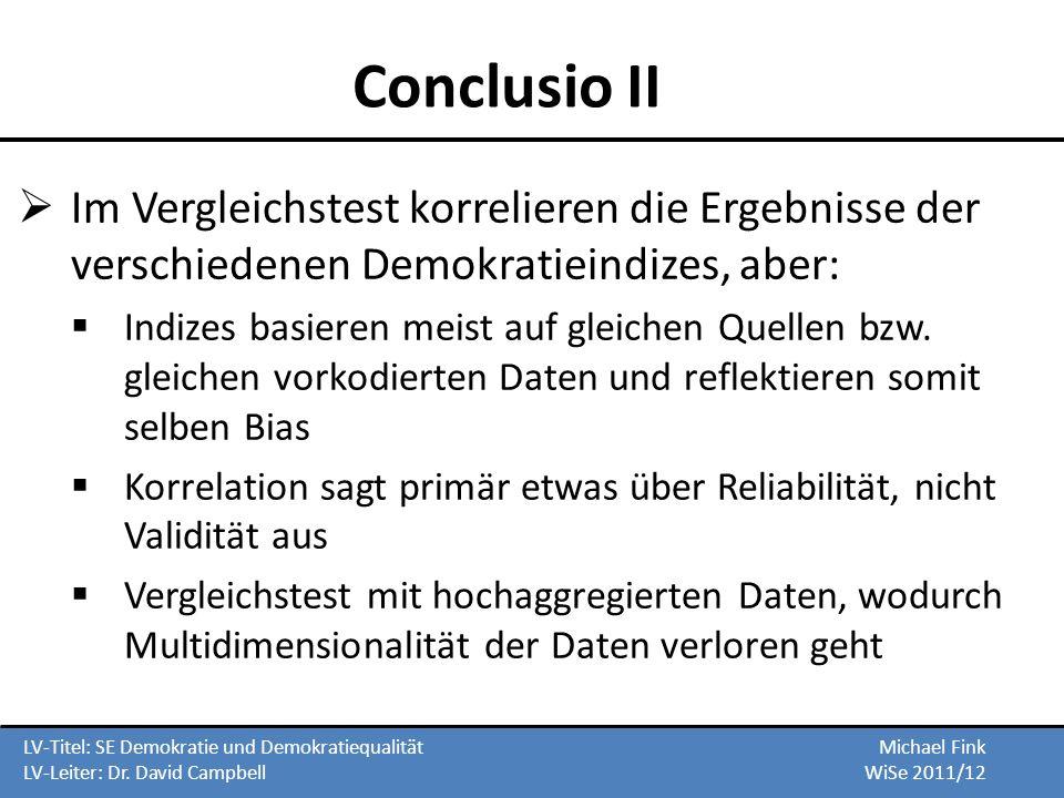 Conclusio II Im Vergleichstest korrelieren die Ergebnisse der verschiedenen Demokratieindizes, aber: