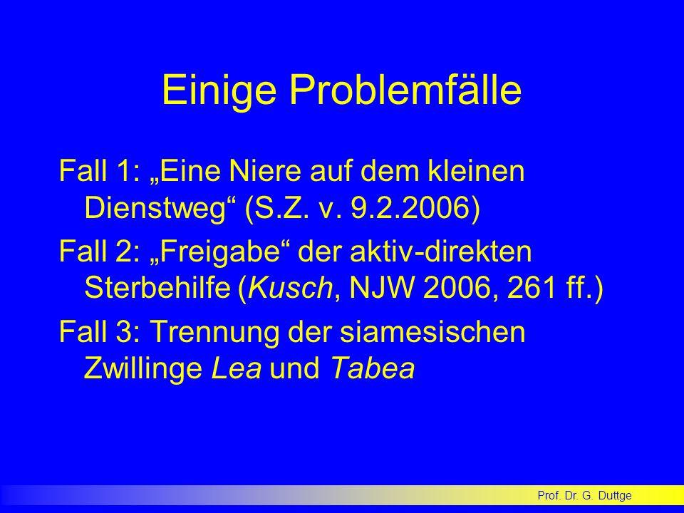 """Einige Problemfälle Fall 1: """"Eine Niere auf dem kleinen Dienstweg (S.Z. v. 9.2.2006)"""