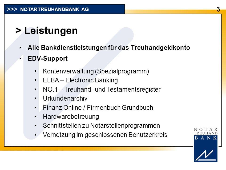 > Leistungen 3 Alle Bankdienstleistungen für das Treuhandgeldkonto